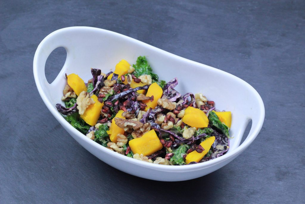 kale and red cabbage salad with butternut squash